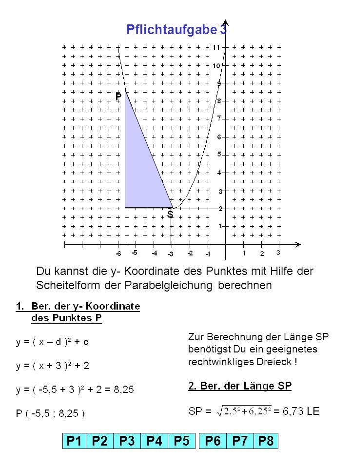 Pflichtaufgabe 3Du kannst die y- Koordinate des Punktes mit Hilfe der Scheitelform der Parabelgleichung berechnen.