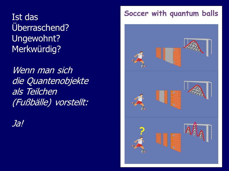 Ist das Überraschend Ungewohnt Merkwürdig Wenn man sich. die Quantenobjekte. als Teilchen. (Fußbälle) vorstellt: