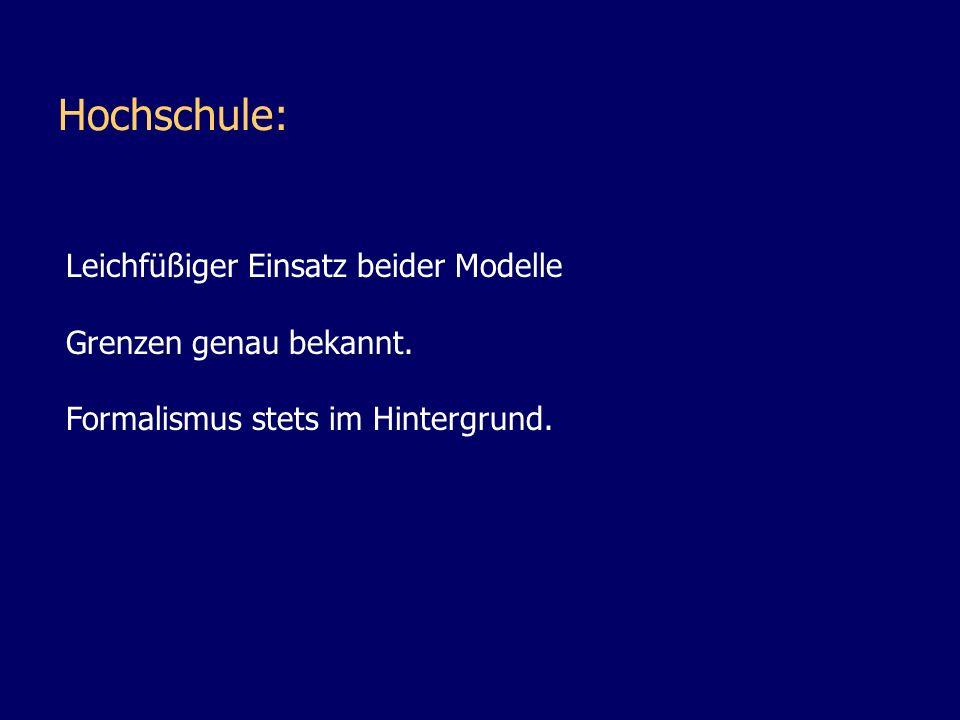 Hochschule: Leichfüßiger Einsatz beider Modelle Grenzen genau bekannt.