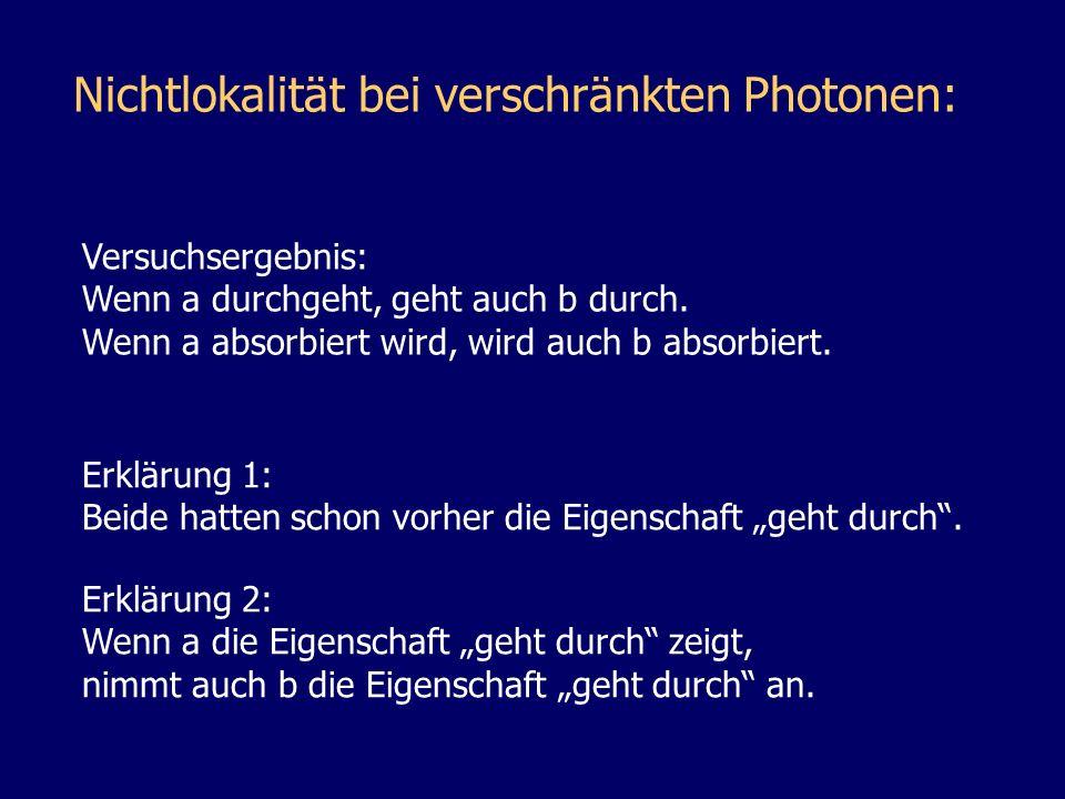 Nichtlokalität bei verschränkten Photonen: