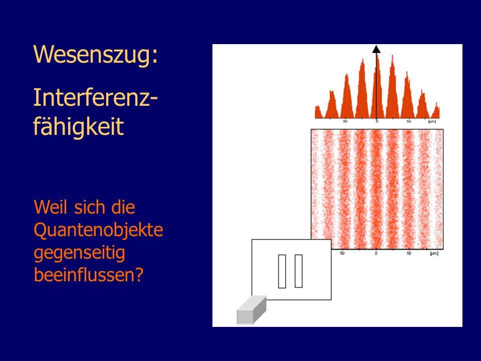 Wesenszug: Interferenz- fähigkeit Weil sich die Quantenobjekte