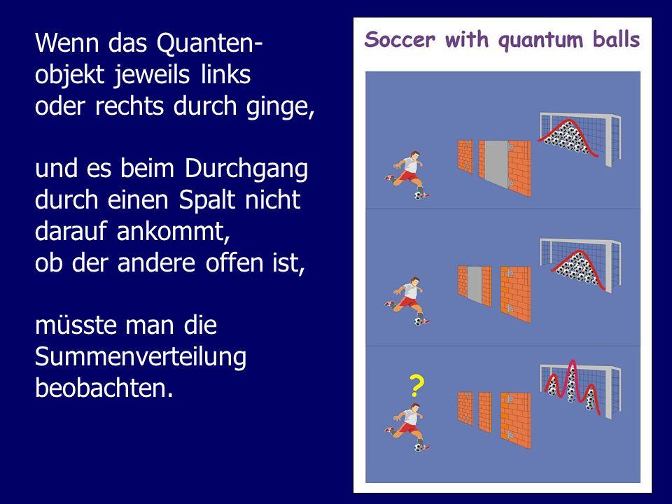 Wenn das Quanten- objekt jeweils links. oder rechts durch ginge, und es beim Durchgang. durch einen Spalt nicht.