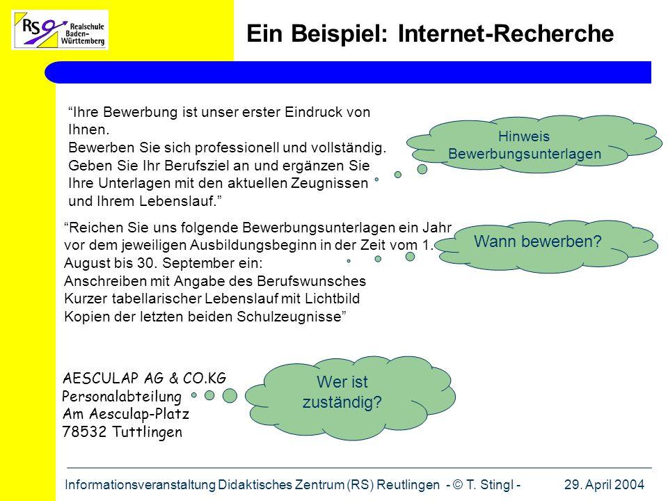 Ein Beispiel: Internet-Recherche