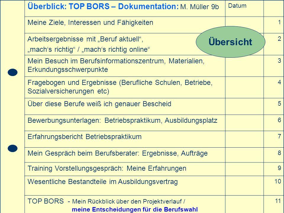 Übersicht Überblick: TOP BORS – Dokumentation: M. Müller 9b