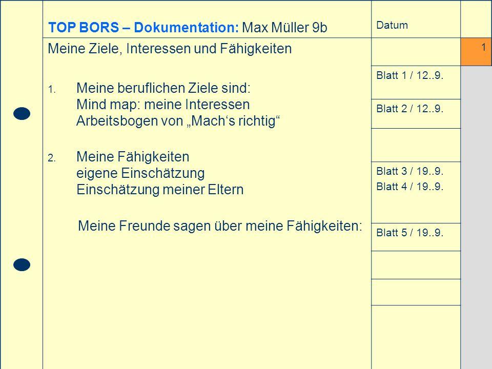TOP BORS – Dokumentation: Max Müller 9b
