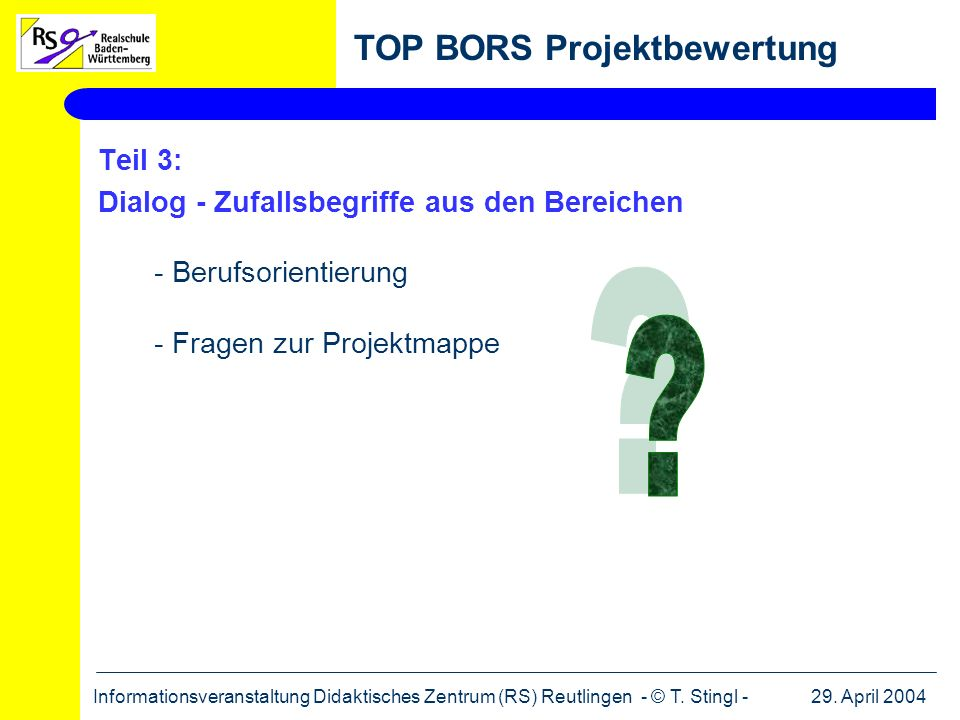 TOP BORS Projektbewertung