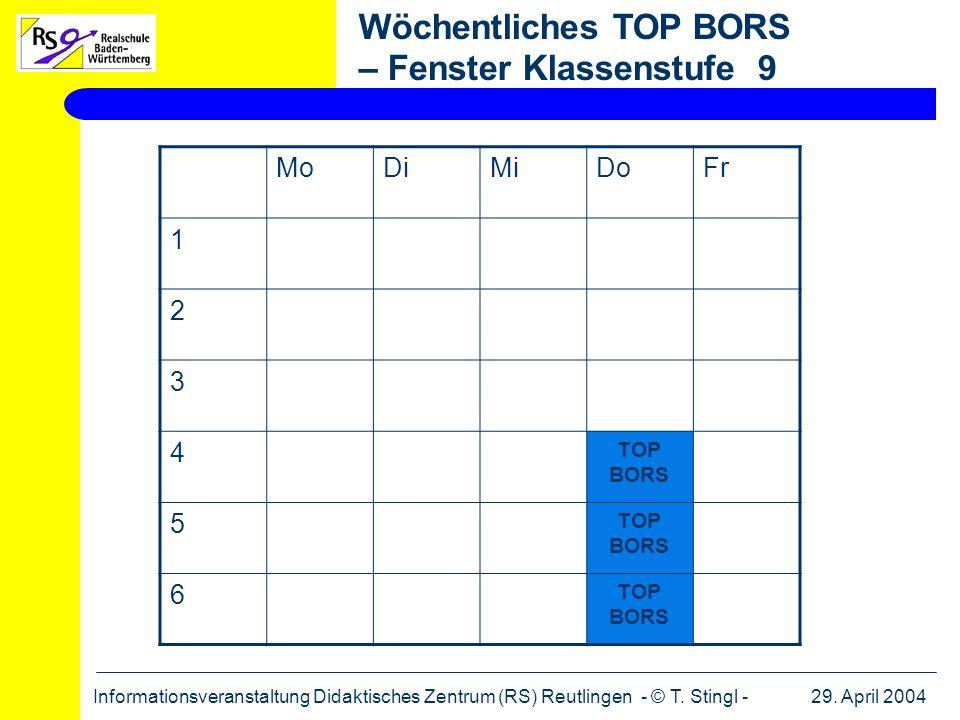Wöchentliches TOP BORS – Fenster Klassenstufe 9
