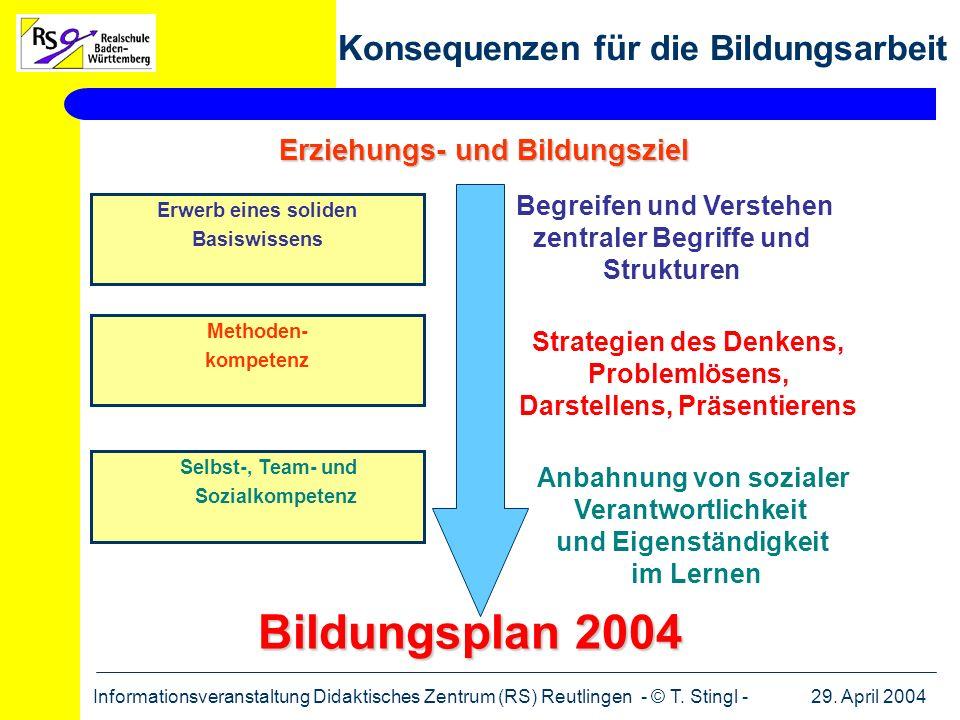 Bildungsplan 2004 Konsequenzen für die Bildungsarbeit