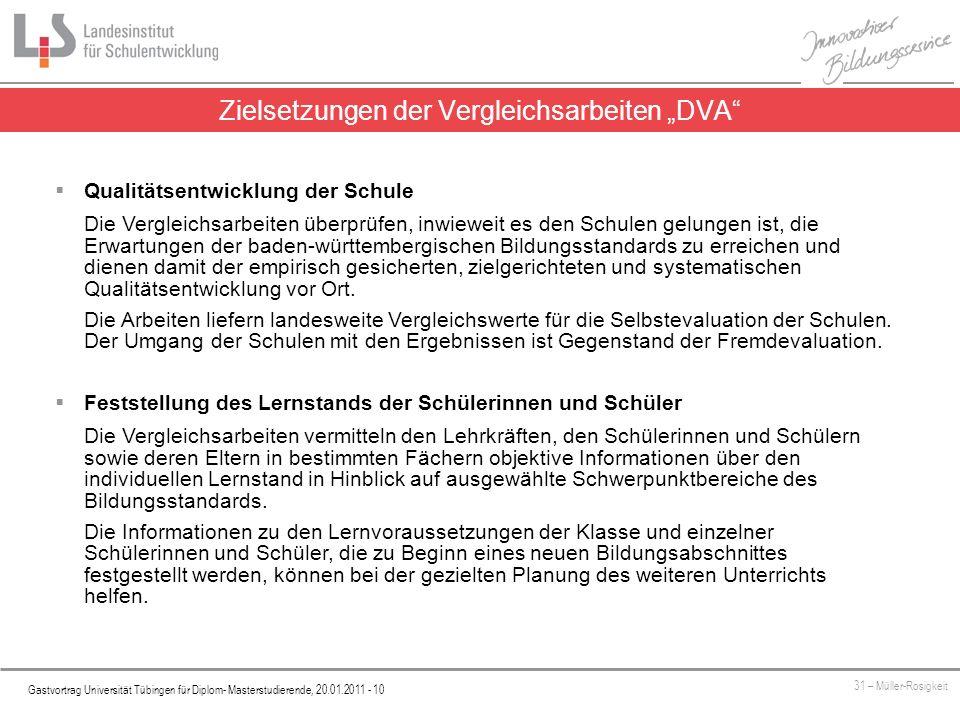 """Zielsetzungen der Vergleichsarbeiten """"DVA"""