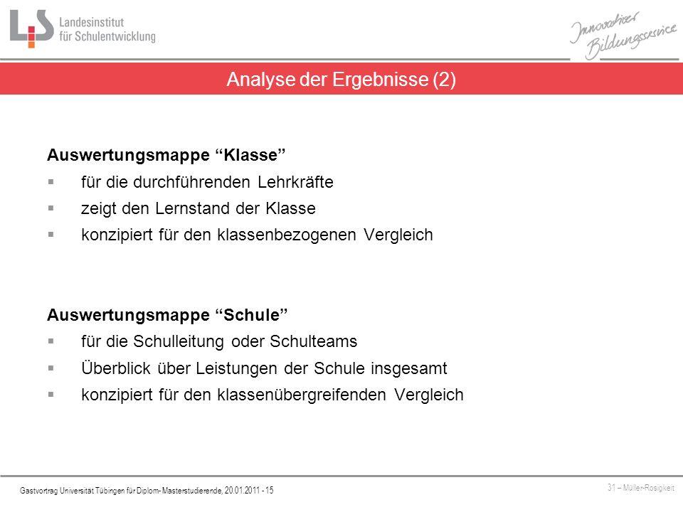 Analyse der Ergebnisse (2)
