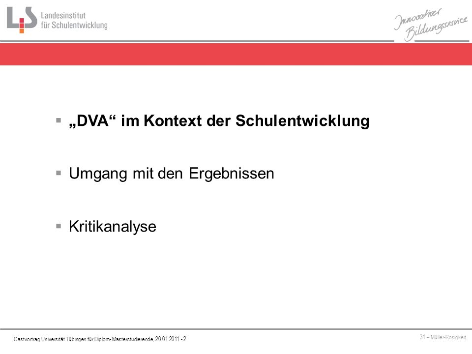 """""""DVA im Kontext der Schulentwicklung"""