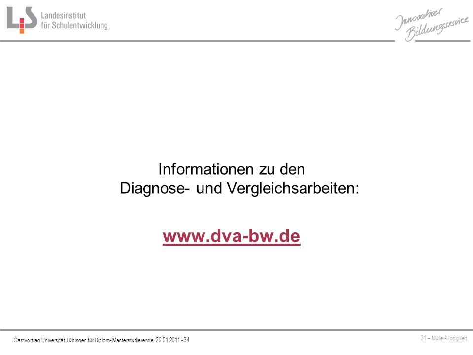 Informationen zu den Diagnose- und Vergleichsarbeiten: