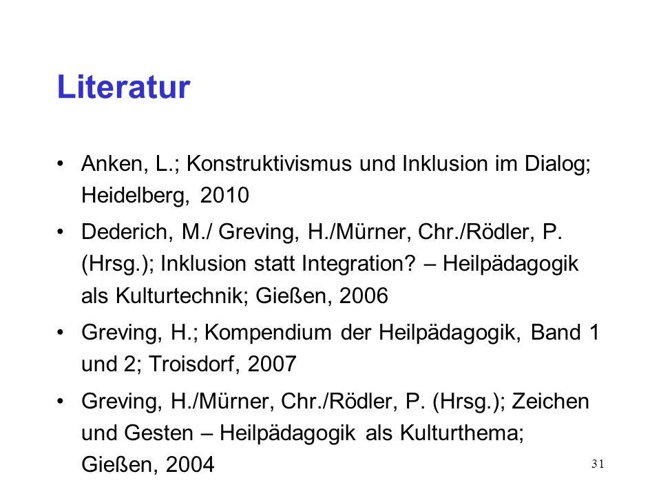 Literatur Anken, L.; Konstruktivismus und Inklusion im Dialog; Heidelberg, 2010.