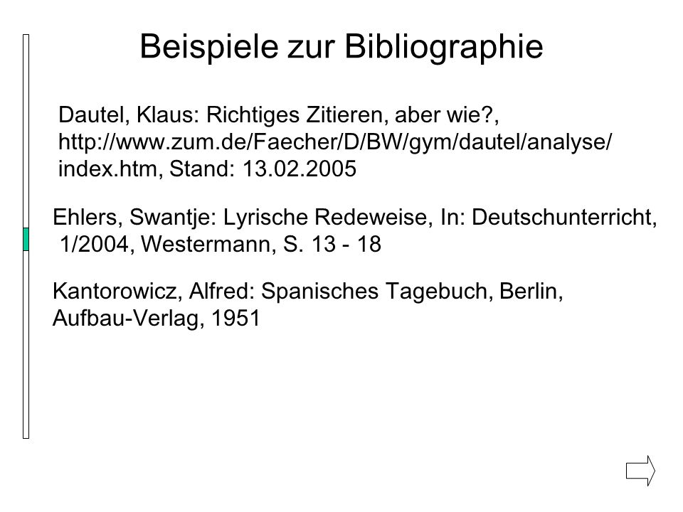 Beispiele zur Bibliographie