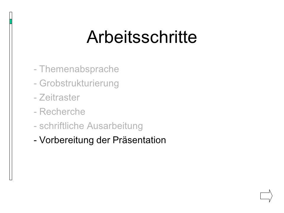 Arbeitsschritte - Themenabsprache - Grobstrukturierung - Zeitraster