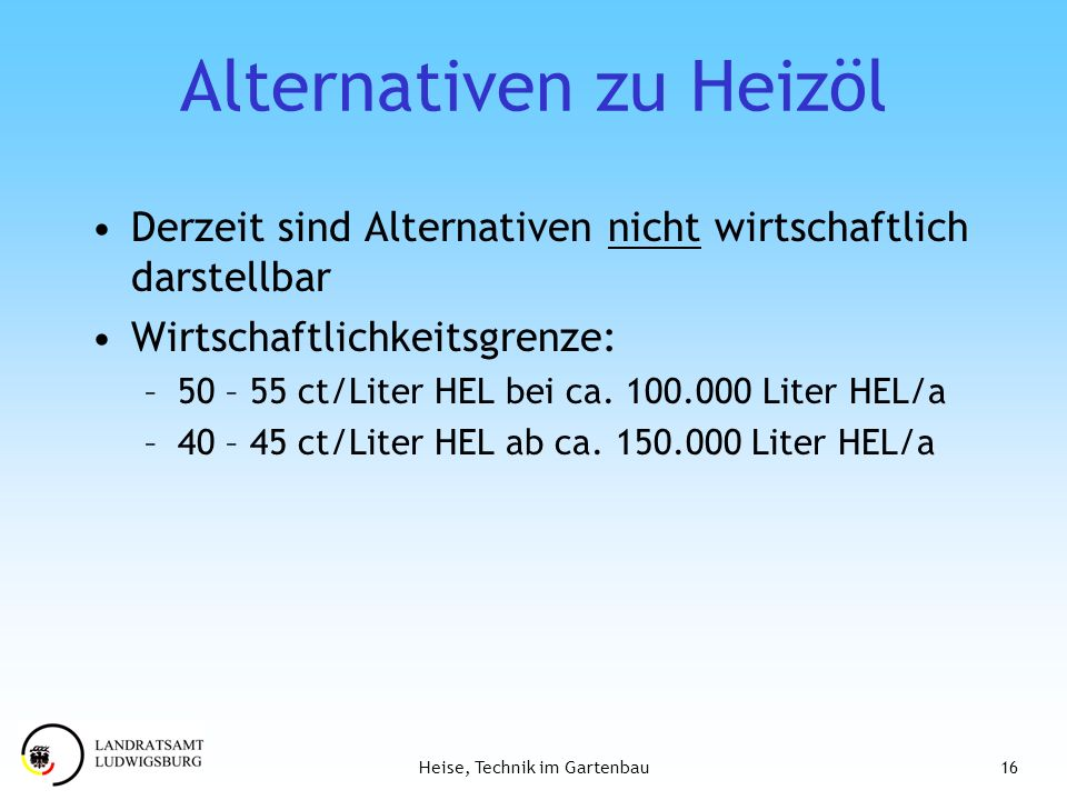 Alternativen zu Heizöl