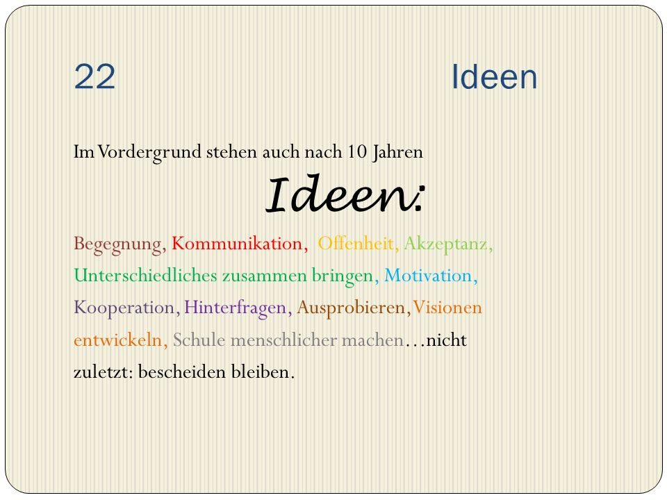 22 Ideen Im Vordergrund stehen auch nach 10 Jahren Ideen: