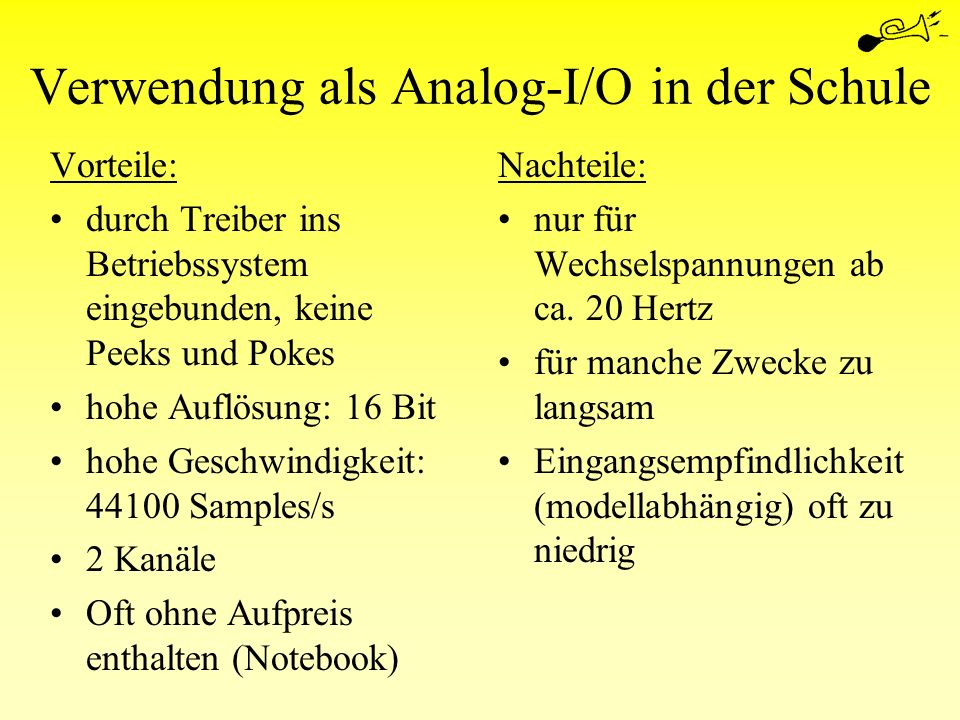 Verwendung als Analog-I/O in der Schule