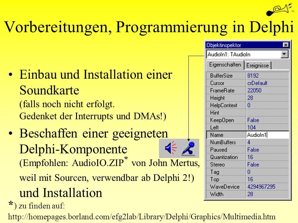 Vorbereitungen, Programmierung in Delphi