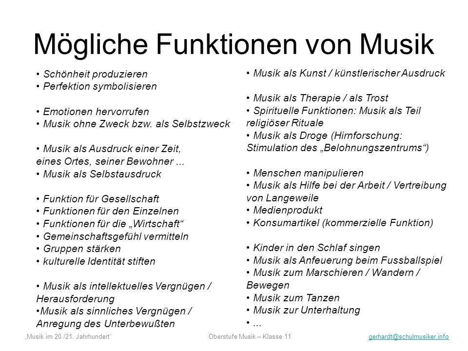 Mögliche Funktionen von Musik
