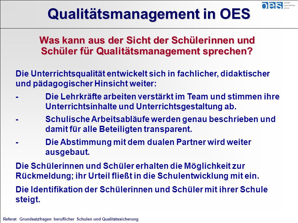 Qualitätsmanagement in OES
