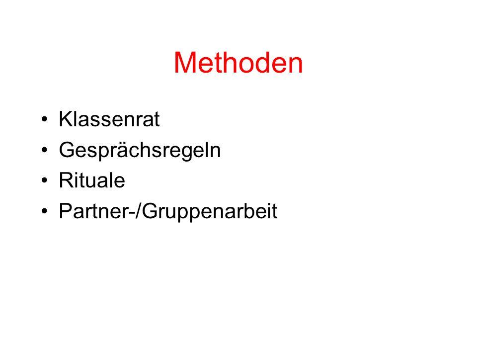 Methoden Klassenrat Gesprächsregeln Rituale Partner-/Gruppenarbeit