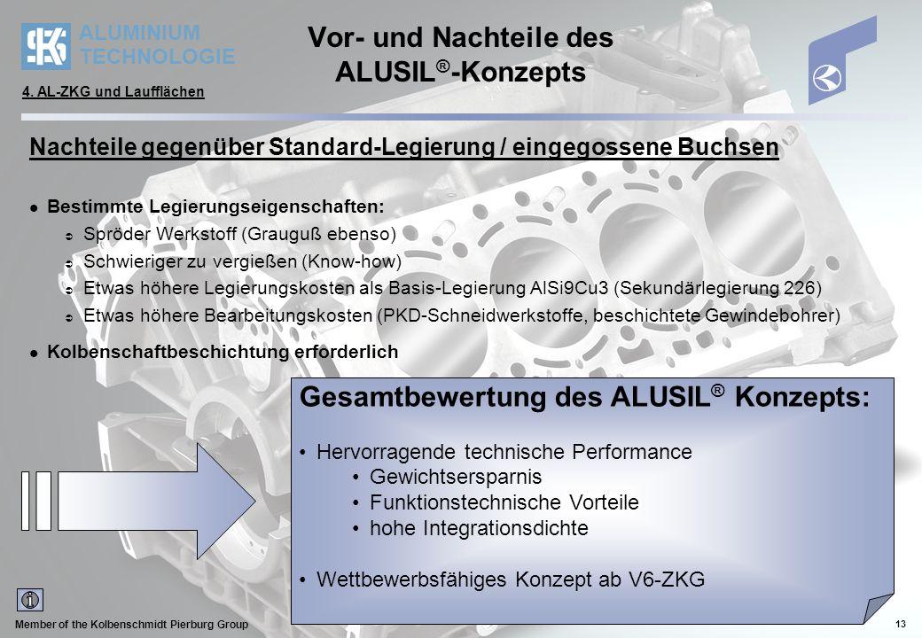 Vor- und Nachteile des ALUSIL®-Konzepts