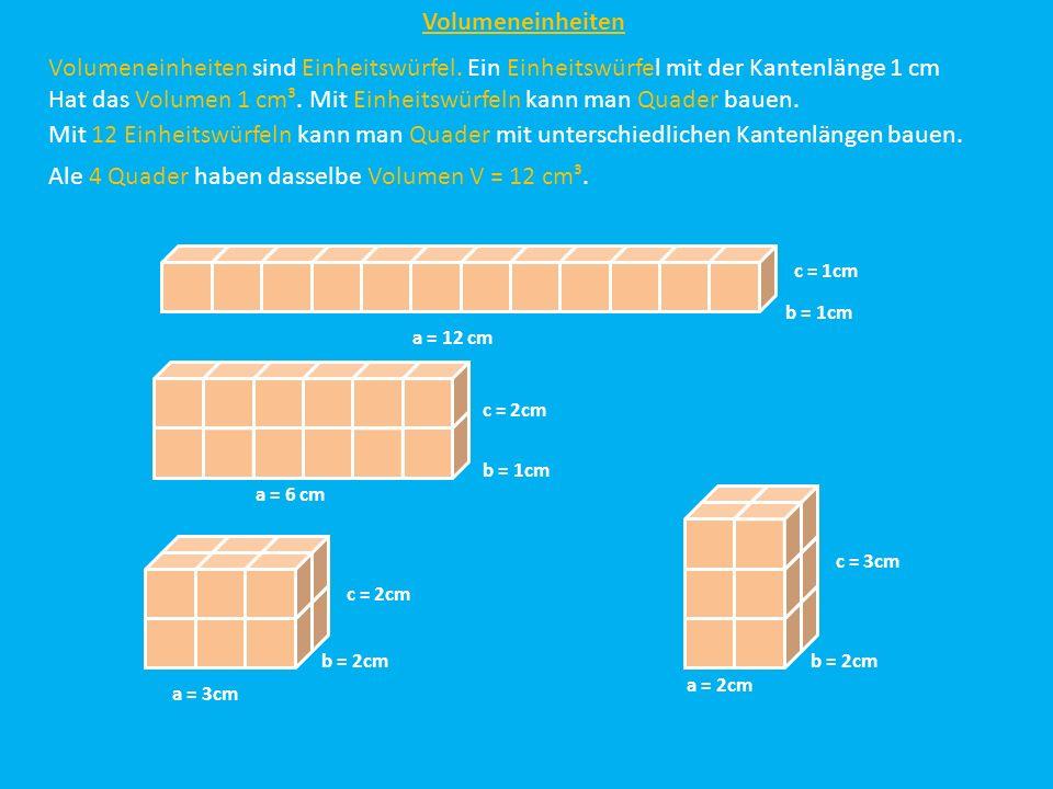 Hat das Volumen 1 cm³. Mit Einheitswürfeln kann man Quader bauen.