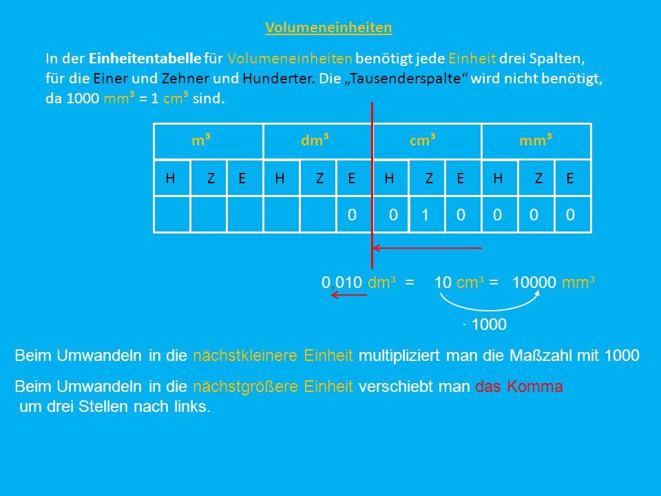 Volumeneinheiten In der Einheitentabelle für Volumeneinheiten benötigt jede Einheit drei Spalten,