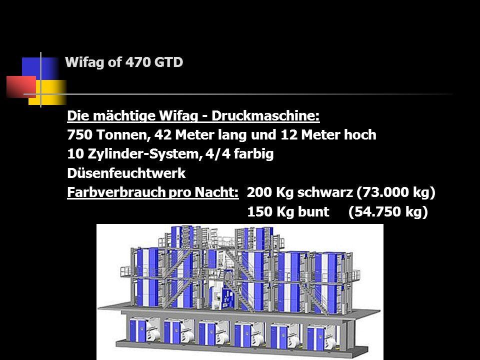 Wifag of 470 GTDDie mächtige Wifag - Druckmaschine: 750 Tonnen, 42 Meter lang und 12 Meter hoch. 10 Zylinder-System, 4/4 farbig.