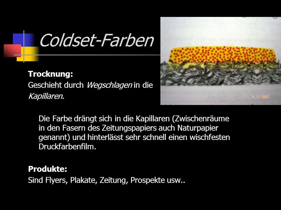 Coldset-Farben Trocknung: Geschieht durch Wegschlagen in die