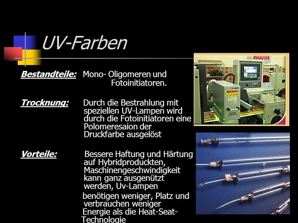 UV-Farben Bestandteile: Mono- Oligomeren und Fotoinitiatoren.