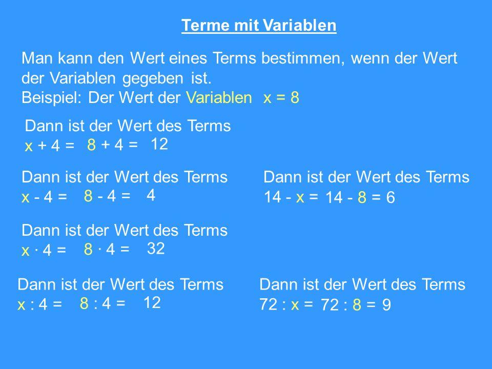 Terme mit Variablen Man kann den Wert eines Terms bestimmen, wenn der Wert. der Variablen gegeben ist.