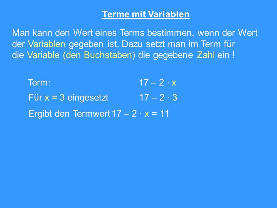 Terme mit Variablen Man kann den Wert eines Terms bestimmen, wenn der Wert. der Variablen gegeben ist. Dazu setzt man im Term für.
