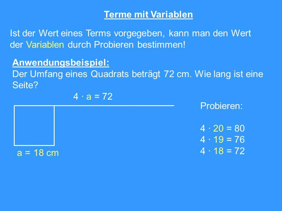 Terme mit Variablen Ist der Wert eines Terms vorgegeben, kann man den Wert. der Variablen durch Probieren bestimmen!