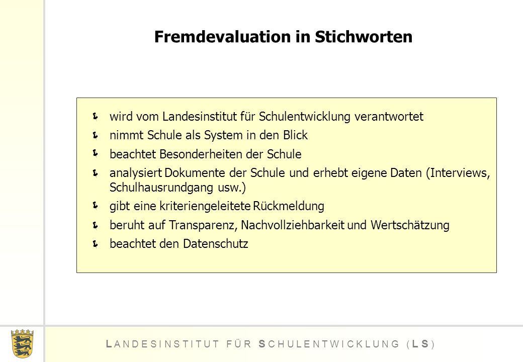 Fremdevaluation in Stichworten