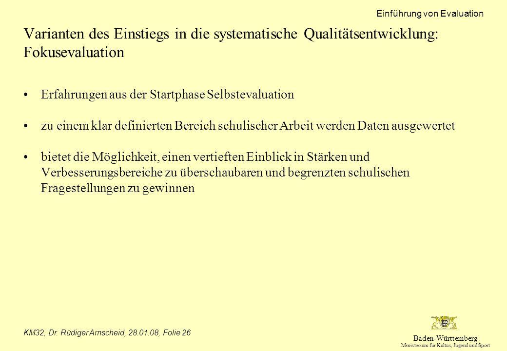 Varianten des Einstiegs in die systematische Qualitätsentwicklung: Fokusevaluation