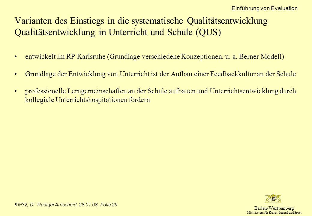 Varianten des Einstiegs in die systematische Qualitätsentwicklung Qualitätsentwicklung in Unterricht und Schule (QUS)