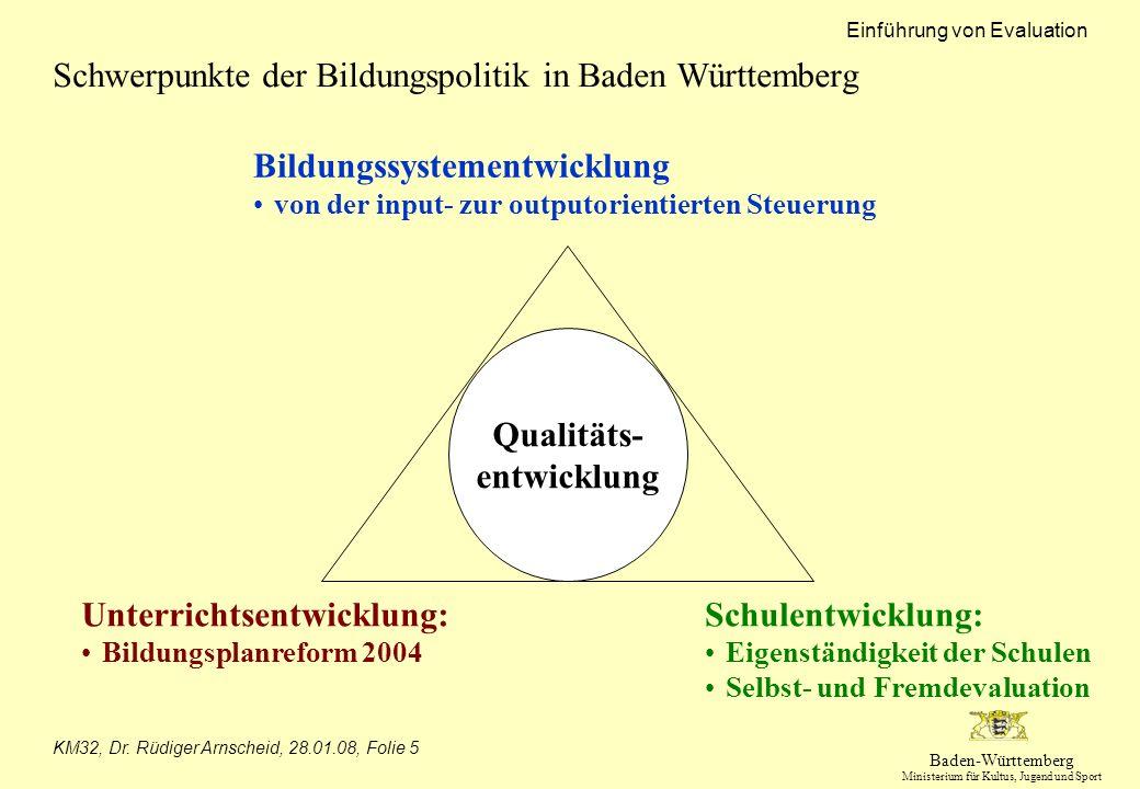 Schwerpunkte der Bildungspolitik in Baden Württemberg