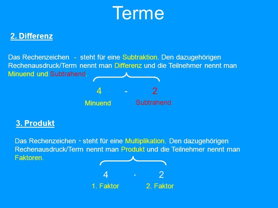 Terme 4 - 2 4  2 2. Differenz 3. Produkt