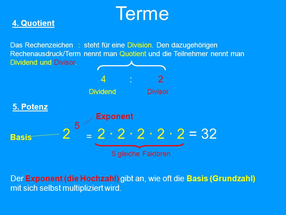 Terme 2 2 · 2 · 2 · 2 · 2 = 32 4 : 2 5 = 4. Quotient 5. Potenz