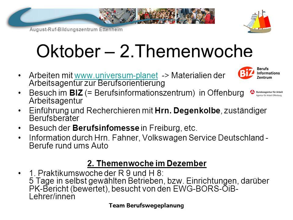 2. Themenwoche im Dezember Team Berufswegeplanung