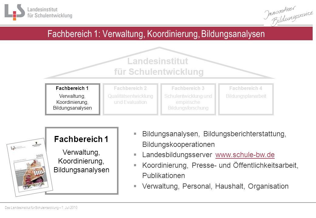 Fachbereich 1: Verwaltung, Koordinierung, Bildungsanalysen