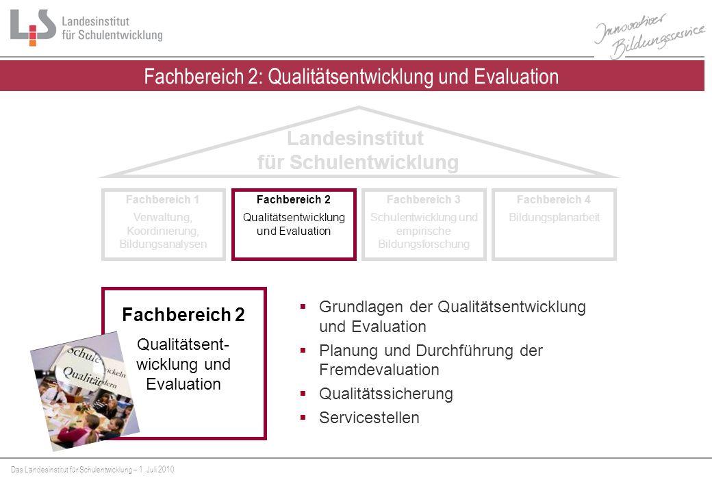 Fachbereich 2: Qualitätsentwicklung und Evaluation
