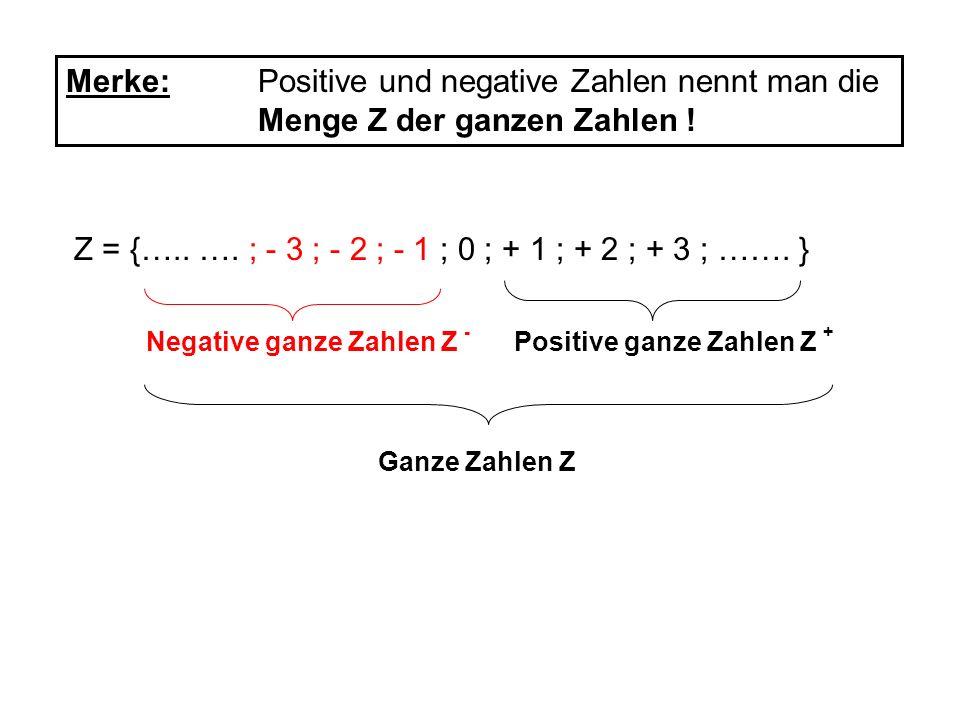 Merke: Positive und negative Zahlen nennt man die