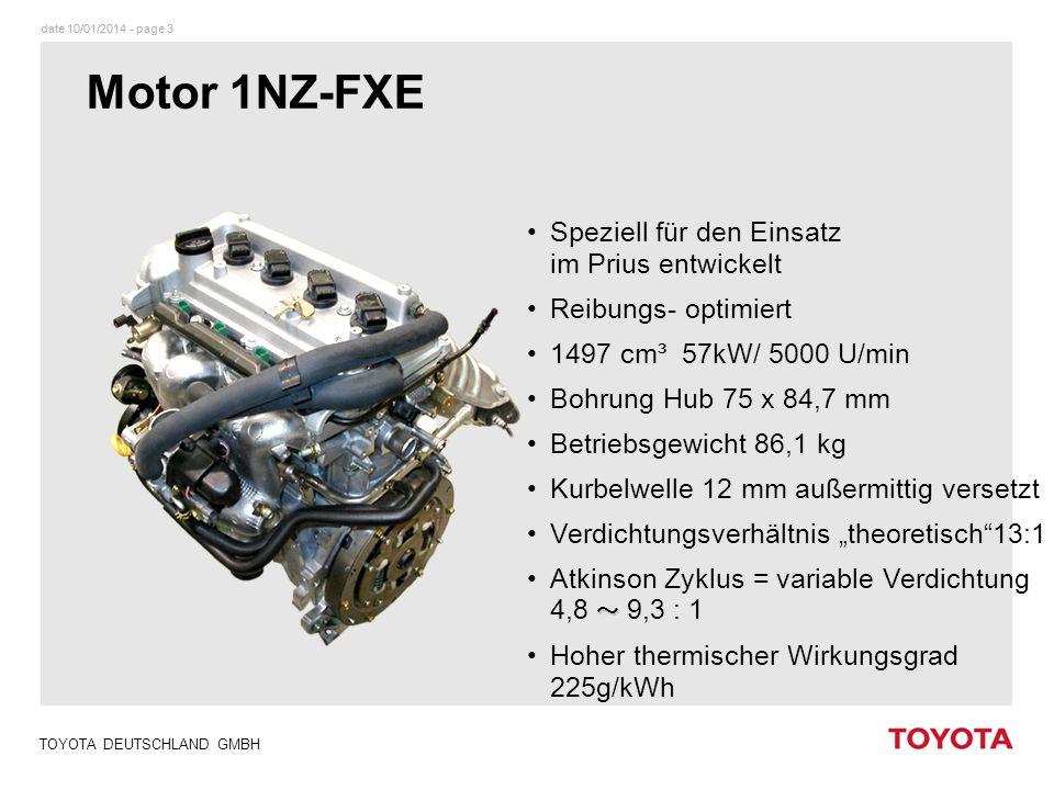 Motor 1NZ-FXE Speziell für den Einsatz im Prius entwickelt