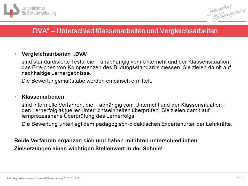 """""""DVA – Unterschied Klassenarbeiten und Vergleichsarbeiten"""