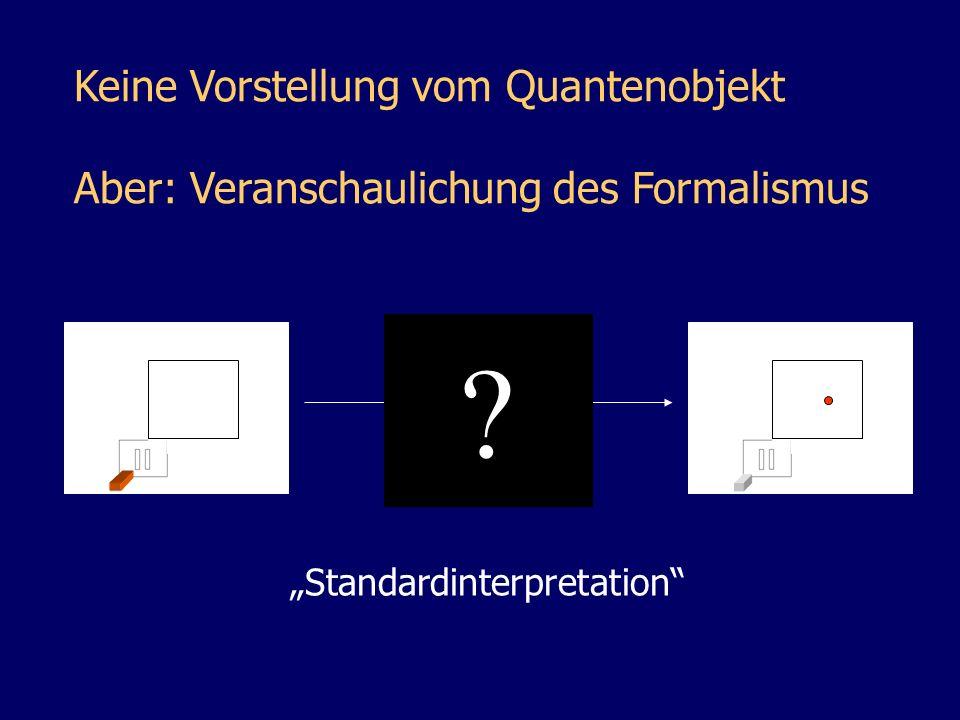 Keine Vorstellung vom Quantenobjekt Aber: Veranschaulichung des Formalismus