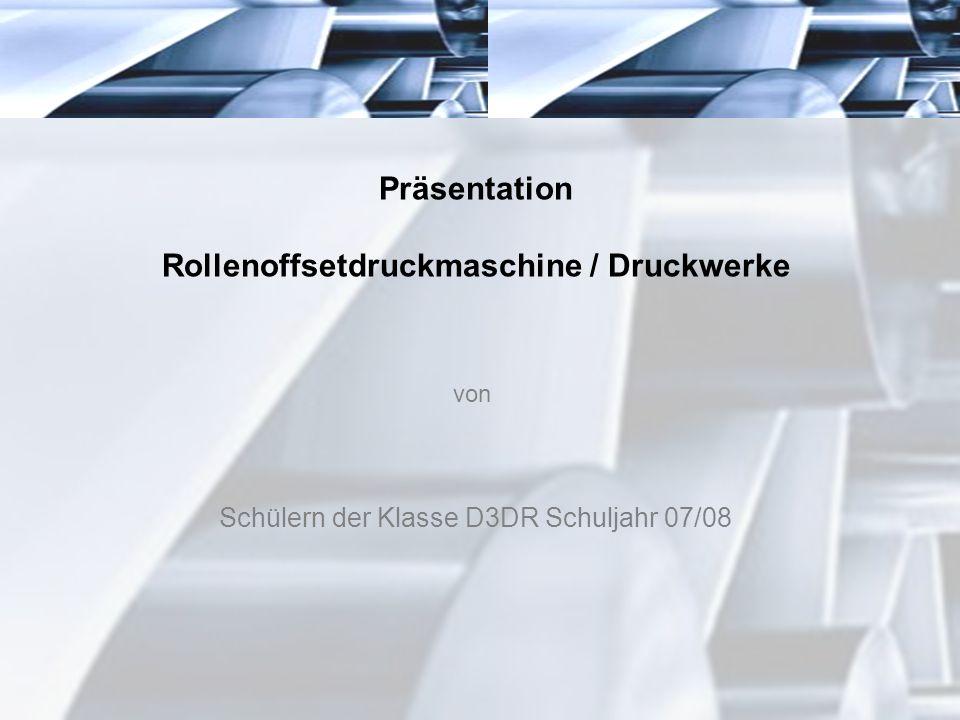 Präsentation Rollenoffsetdruckmaschine / Druckwerke