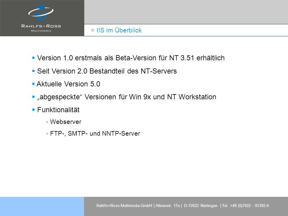 Version 1.0 erstmals als Beta-Version für NT 3.51 erhältlich